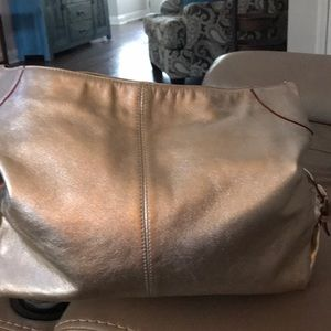 Dooney & Bourke Metallic light gold leather Hobo